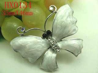 White Butterfly Rhinestone Crystal&Enamel Brooch HX0134