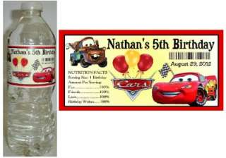 20 DISNEY CARS BIRTHDAY PARTY FAVORS ~ WATER BOTTLE LABELS