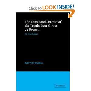 Edition (9780521256353): Giraut de Borneil, Ruth Verity Sharman: Books