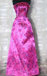 Barbie doll long pink sleeveless dress gown purple flowers on vines