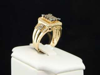 GOLD CHOCOLATE BROWN PRINCESS DIAMOND ENGAGEMENT WEDDING RING