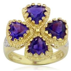 Over Sterling Silver African Amethyst and Diamond Accent Flower Ring