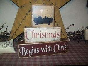 PRIMITIVE BLOCK SIGN~~CHRISTMAS BEGINS WITH CHRIST~~