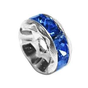 Silver Plated Rondelle Beads With Sapphire Blue Czech