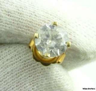Cut Diamond Solitaire Single Stud   14k Yellow Gold Earring