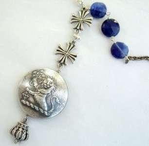 Silver Vintage English Lion Cross Medallion Necklace