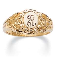 Ladies Signet 14k Gold Plate ID Ring