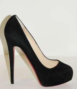 CHRISTIAN LOUBOUTIN Miss Clichy Black Suede Platform Pump Shoe 39 NIB