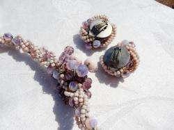 LARGE Vintage PURPLE PINK Opalescent ART GLASS Necklace set WESTERN