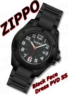 Zippo Black Face PVD Stainless Band Dress Watch 45014