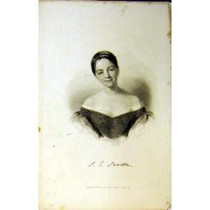 1837 Antique Portrait Beautiful Young Woman Short Hair Home & Kitchen