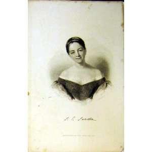 1837 Antique Portrait Beautiful Young Woman Short Hair Home & Kitchen