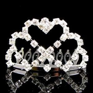 clear Austrian rhinestone hair comb tiara bridal