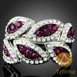 Arinna amethyst leaf white GP swarovski Crystals Ring