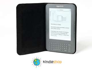 100% Top Grain Cowhide BLACK Leather Case for Kindle Keyboard 3G Wi Fi