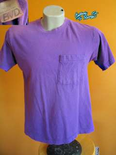 Vintage 80s Mens purple cotton bvd t SHIRT medium usa