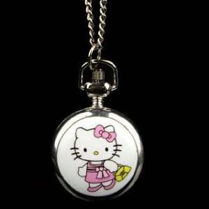 Cute Silver Tone Steel Hello Kitty Cat Fashion Pocket Watch Necklace