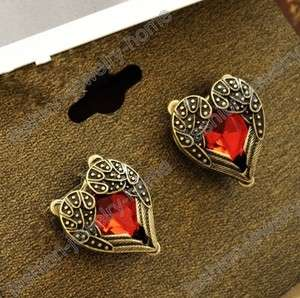 Fashion retro bronze pair red crystal heart love wing earrings