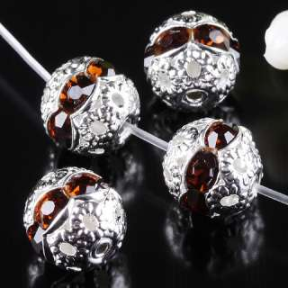 Crystal Silver Plated Flower Ball Loose Spacer Beads