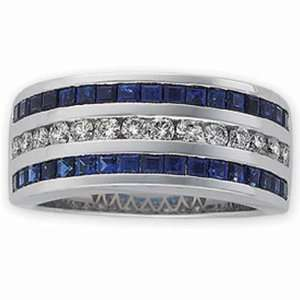 14Kt White Gold Deep Blue Sapphire and Diamond Anniversary