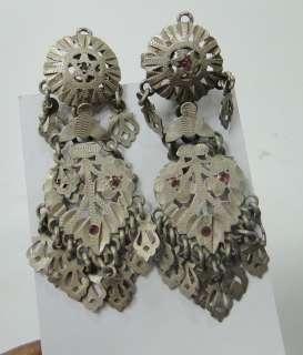vintage antique tribal old silver ear plugs earring pair