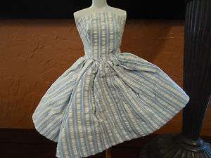 VINTAGE BARBIE CUTE BLUE & WHITE STRIPE ASYMETRICAL SKIRT DRESS