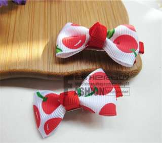 Girls Baby Mini Cherry Bowknot Hat Hair Cute Bow Clips