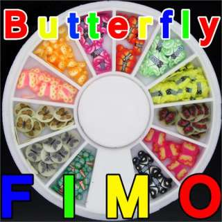 120 3D FIMO Slice Colored Butterfly Nail Art Decoration