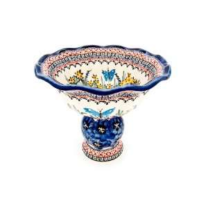 Pottery Blue Floral Butterfly Pedestal Fruit Bowl