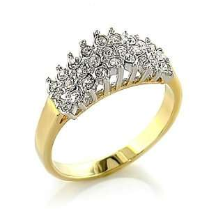 Gold Plated Clear Swarvoski Crystal Ring Jewelry