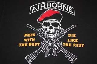 XL * vtg 90s AIRBORNE shirt * military skull gun