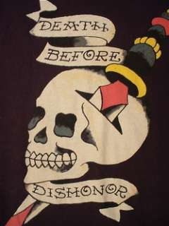 ED HARDY Death Before Dishonor T Shirt (Mens XL)