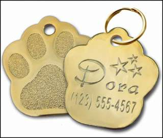 24k Gold Plated Paw Engraved Pet ID Tag Dog Cat   LARGE