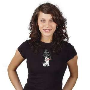 Large Black T Shirt w/ Embroidery Design