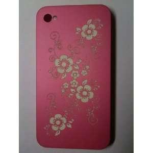 Pink Flower Designer Snap Slim Back Cover Protector Case for iPhone 4G