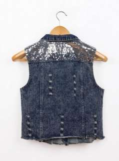 Womens Vintage Blue Denim Sequin Jean Vest Sleeveless Jacket Casual