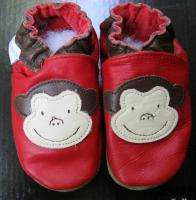 Robeez Monkey Red Leather Shoes Sz 6 12 Months