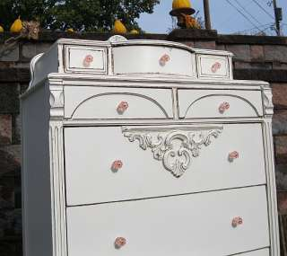 Shabby French Cottage White Painted CHIC Coastal Beach HIGHCHEST