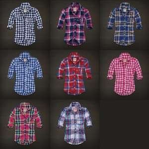 2011 Hollister Womens Bay Shore Button Plaid Shirt NWT