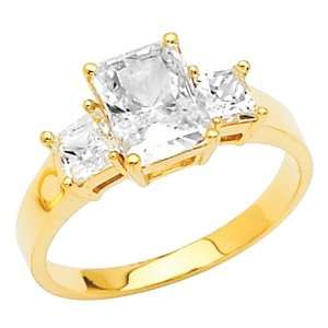 14K Yellow Gold Emerald 2.25 CTW Equivalent Three Stone CZ
