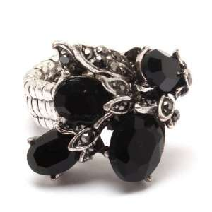 Gothic Victorian Black Crystal Stone Flower Ring