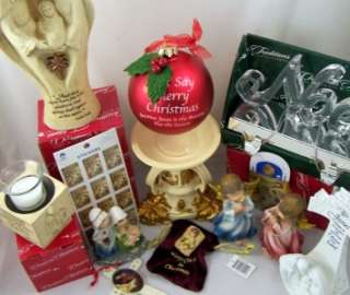Huge Christmas Lot Nativity Angel Set Ornaments Stocking Holder Votive