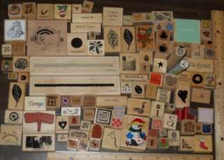 HUGE LOT *** 100+ ASSORTED WOOD MOUNTED RUBBER STAMPS (LOT C)