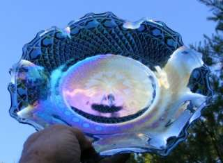 Indiana Blue Iridescent Carnival Glass Hobnail Scalloped/Ruffled Plate