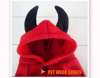 Cute Pet Dog Cat Fall Winter Fancy Devil Clothe Dress Costume XS S M L