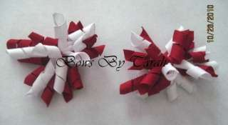 HAIRBOW SET  U PICK 2 COLORS PINK RED ORANGE YELLOW GREEN BLUE
