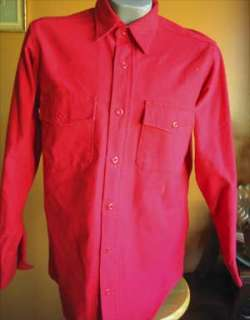 Vtg Deerskin Red Cotton Flannel Mens Winter Hunting Shirt MEDIUM USA M