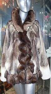 STUNNING MINK FUR JACKET Ruffles Dolman Sleeves Beige Brown Black