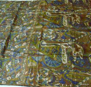 Real Pure Silk Indian Vintage Antique Saree Sari Nice Print