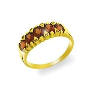 9ct Yellow Gold Garnet & Diamond Ring Size 6 Jewelry